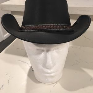 Other - Man's Genuine Leather Cowboy Top Hat With Band